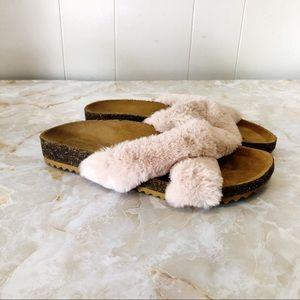 Zara Pull & Bear Faux Fur Slip On Sandals